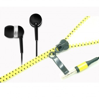 Zipper cable in-ear earphones earbuds with microphone