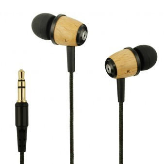 Wood headphone in-ear earpiece braided wire earbuds